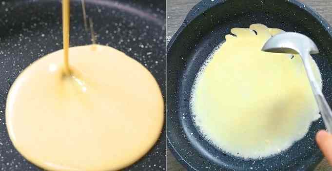 frying the crepes