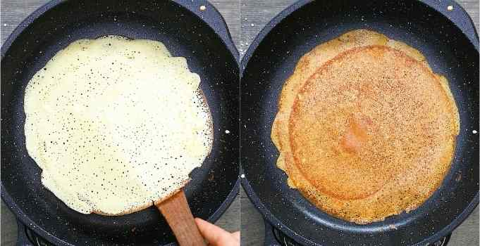 flipping the crepes