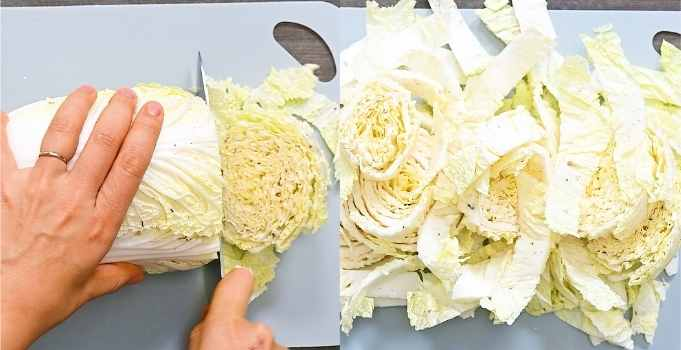 cutting the Napa cabbage into strips