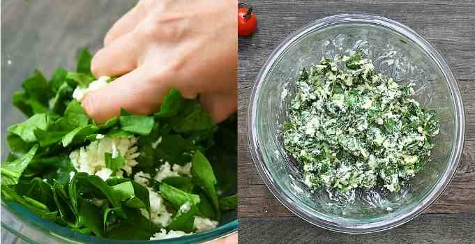 making the spinach stuffing